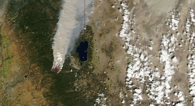 Satellite image of the 2014 King Fire in California